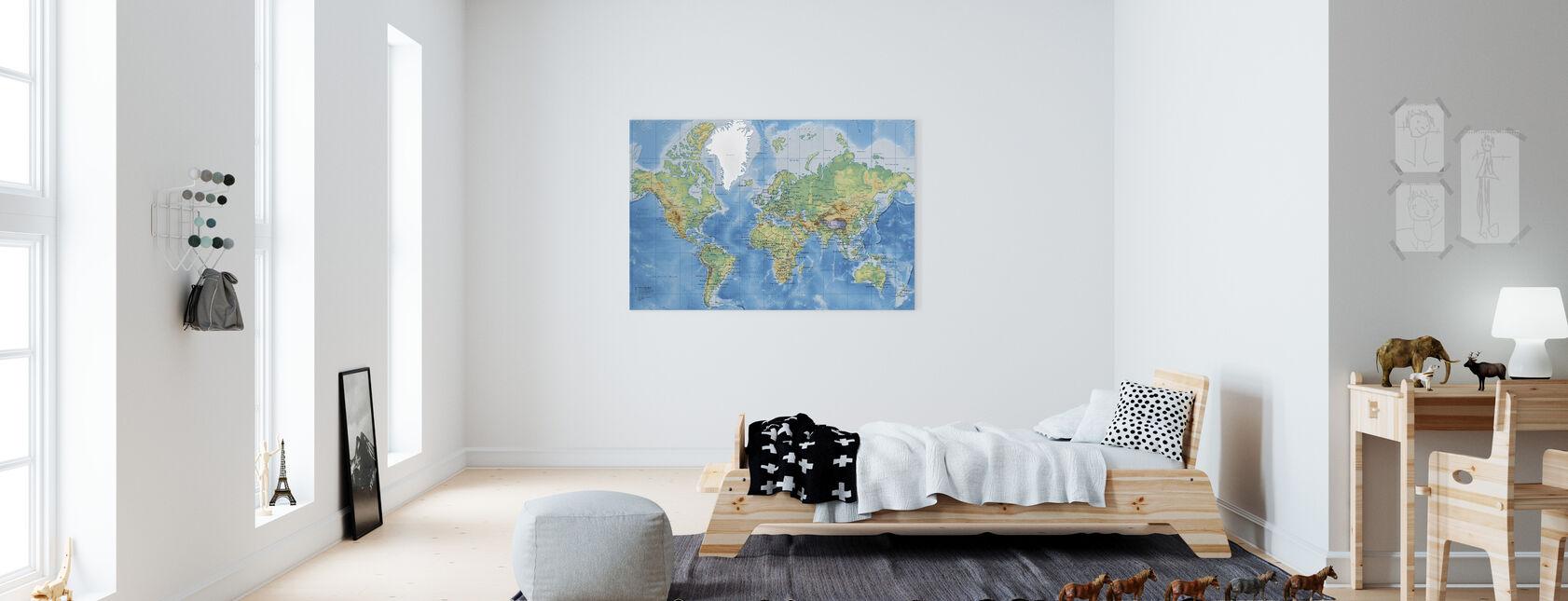Weltkarte detailliert - Leinwandbild - Kinderzimmer