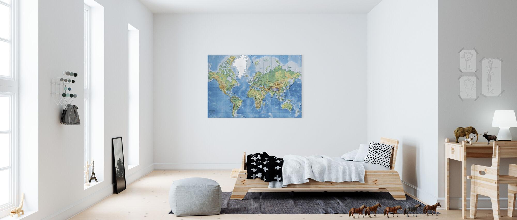 World Map Detailt - Billede på lærred - Børneværelse