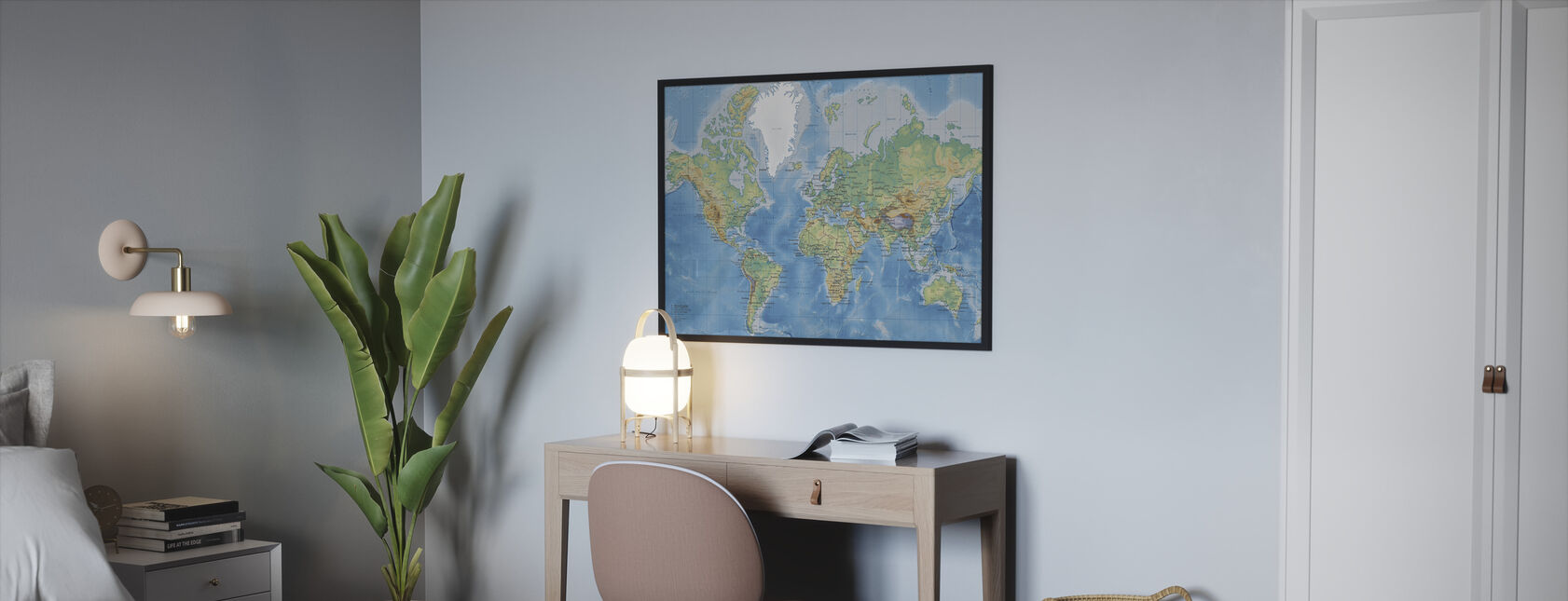 World Map Detailt - Indrammet billede - Soveværelse