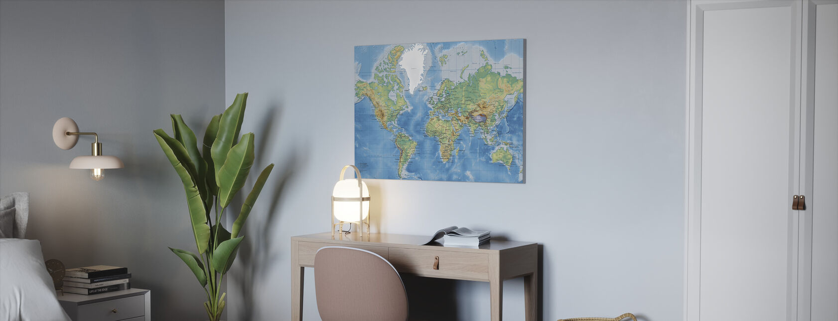 World Map Detailed - Canvas print - Office