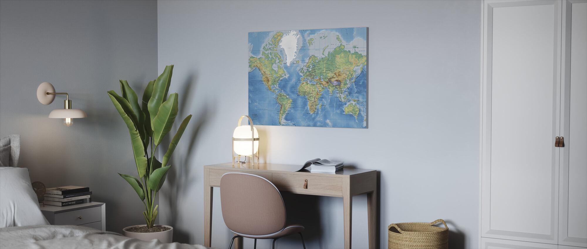Världskarta Detaljerad - Canvastavla - Kontor