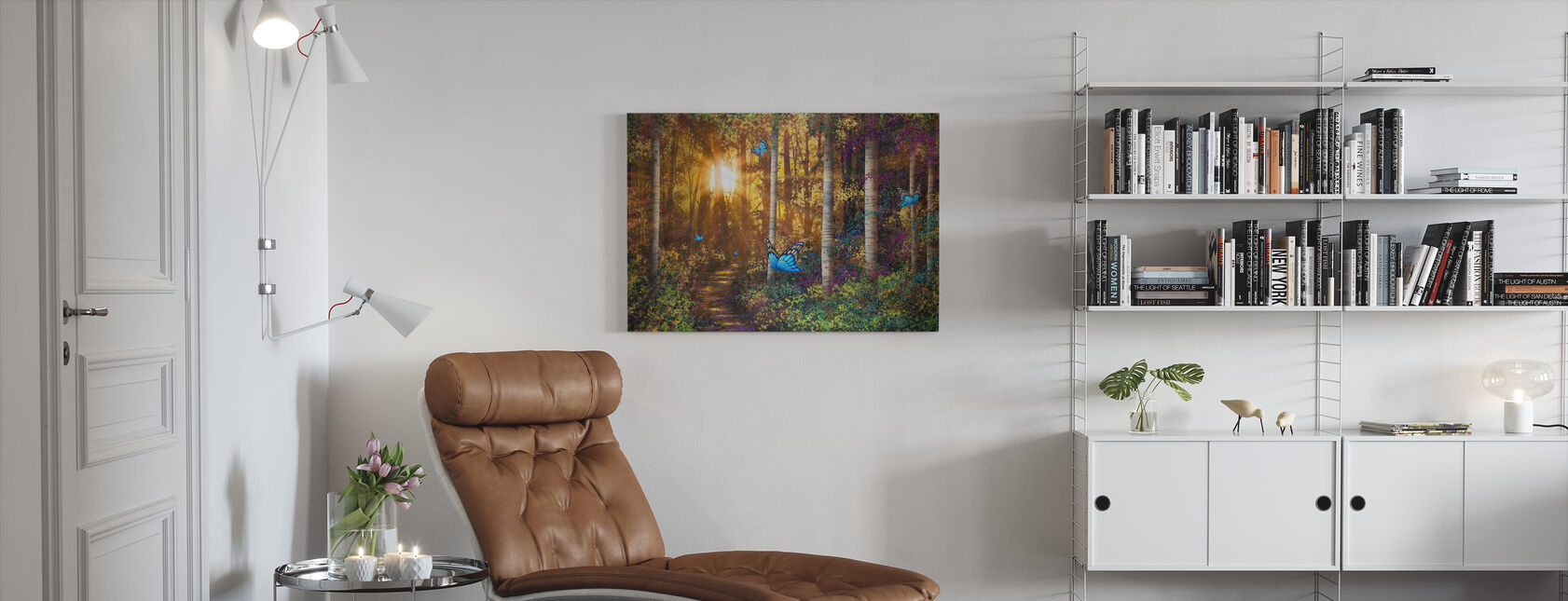 Metsän polku perhosia - Canvastaulu - Olohuone