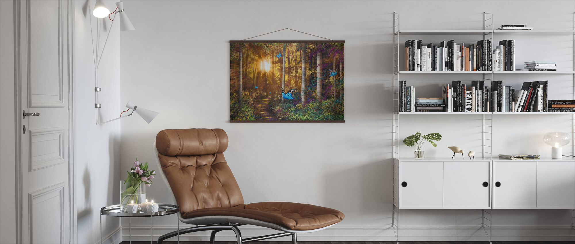 Forest Trail with Butterflies - Poster - Living Room