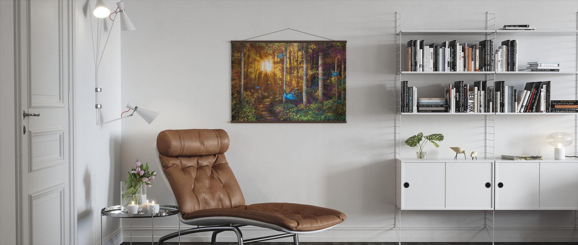 Bospad met vlinders - Poster - Woonkamer