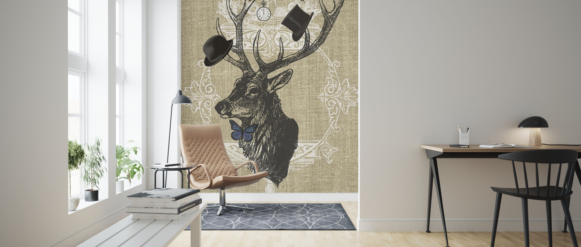 Gentleman Stag Butterfly Linen - Wallpaper - Living Room