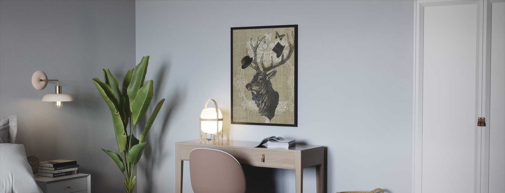 Gentleman Stag Butterfly Linen - Framed print - Bedroom