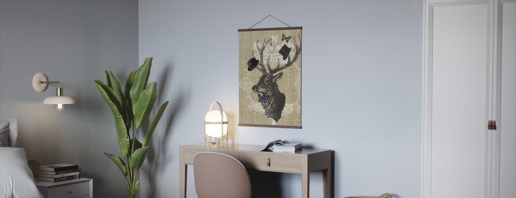 Gentleman Stag Butterfly Linen - Poster - Office