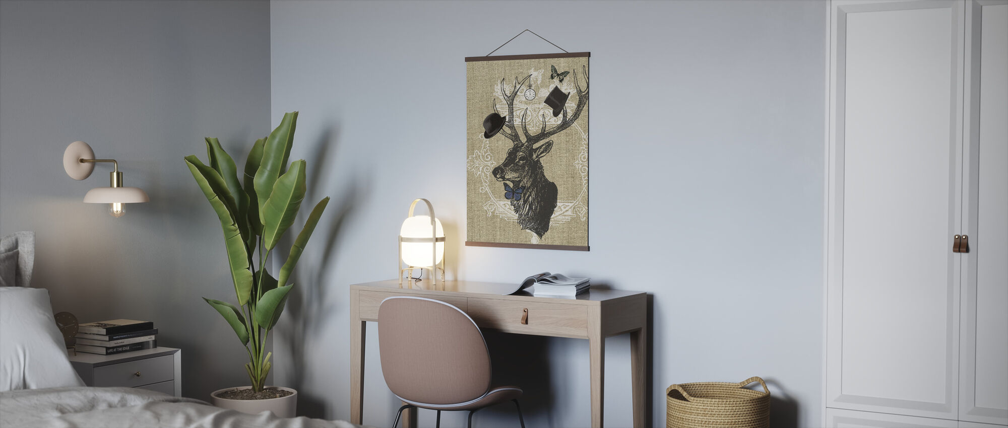 Gentleman Stag Butterfly Linen - Poster - Office