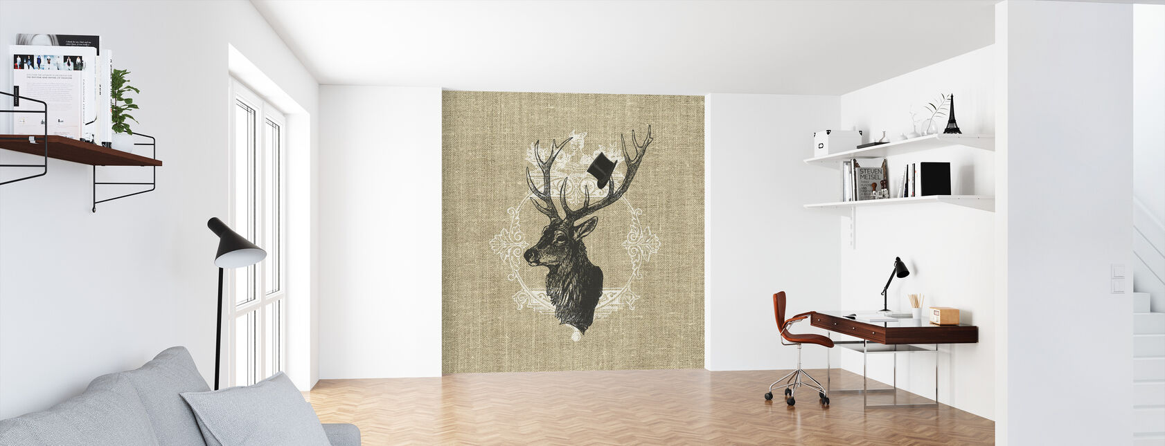 Gentleman Stag Linen - Wallpaper - Office