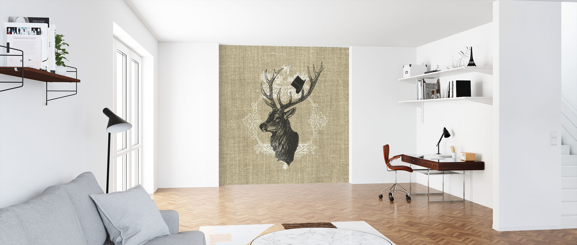 Gentleman Stag Linen - Wallpaper - Office