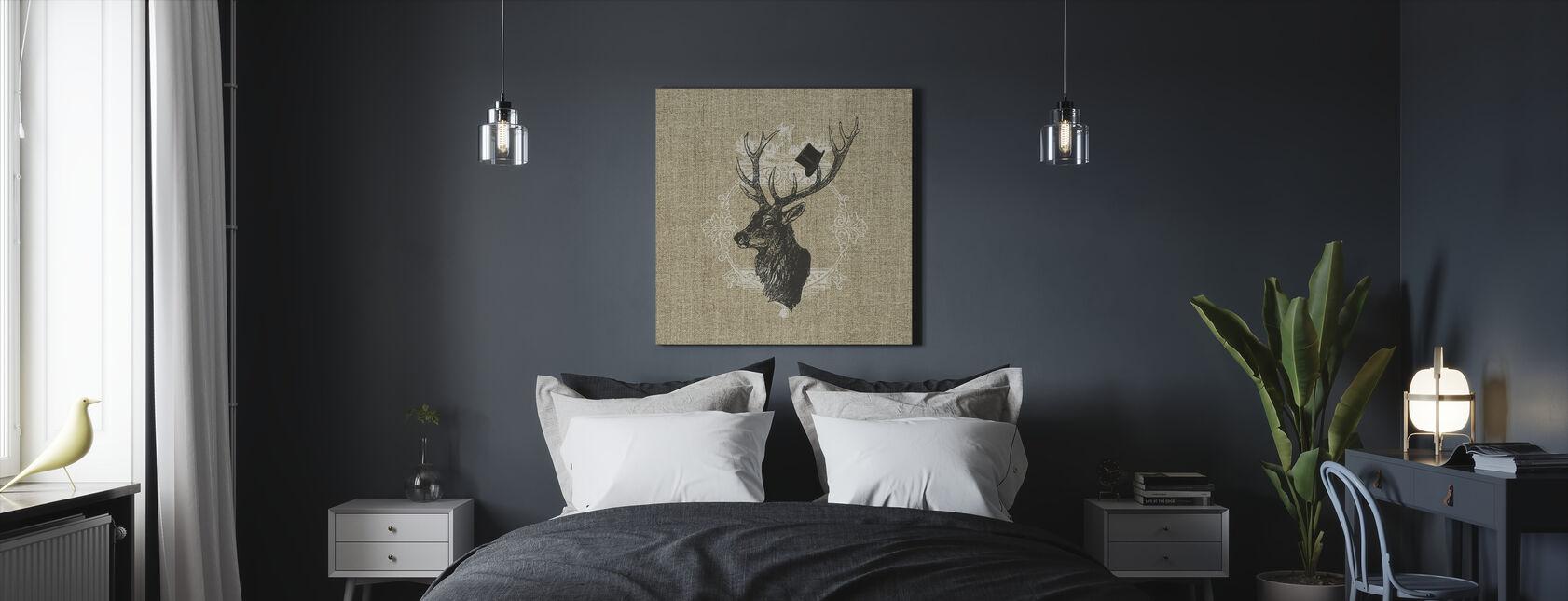 Gentleman Stag Linen - Canvas print - Bedroom