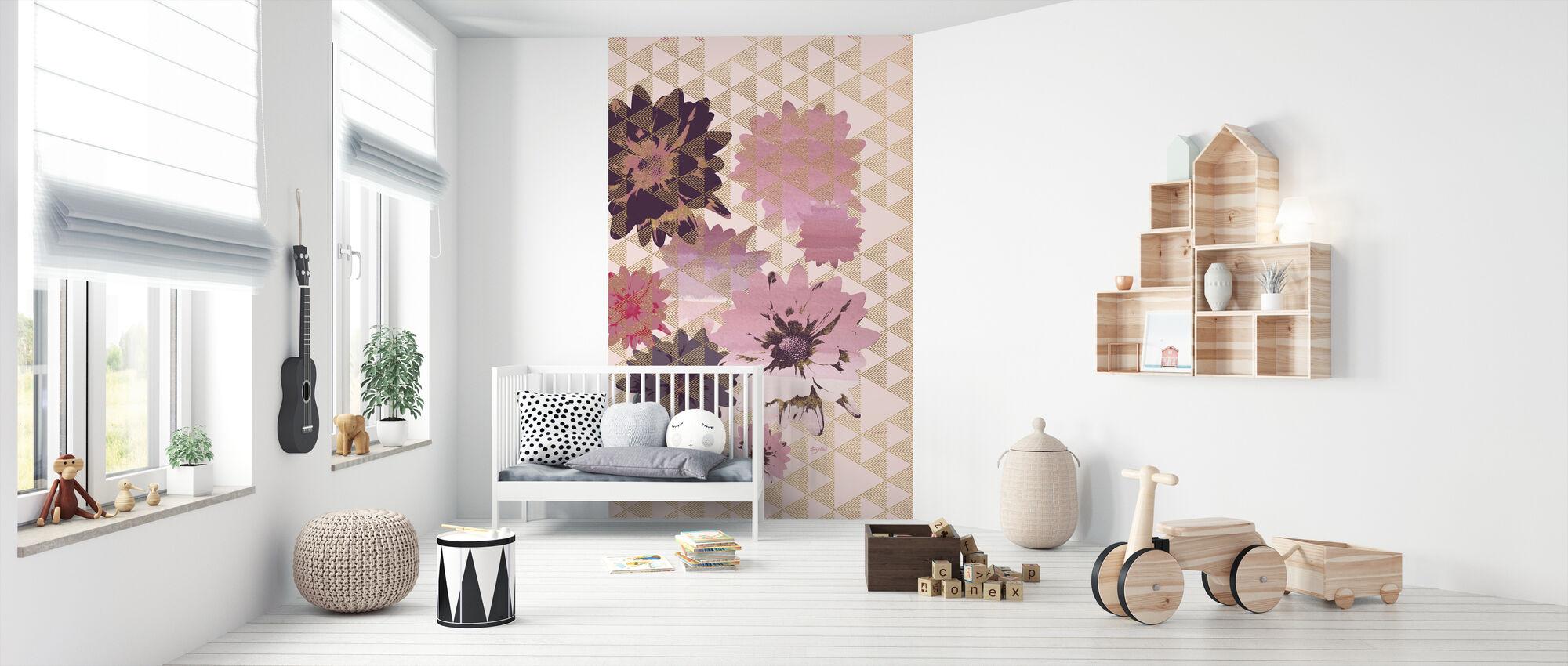 Kimono Daisies 2 - Wallpaper - Nursery