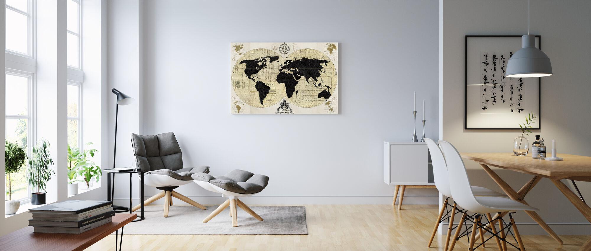 Carte du Monde Vintage - Impression sur toile - Salle à manger