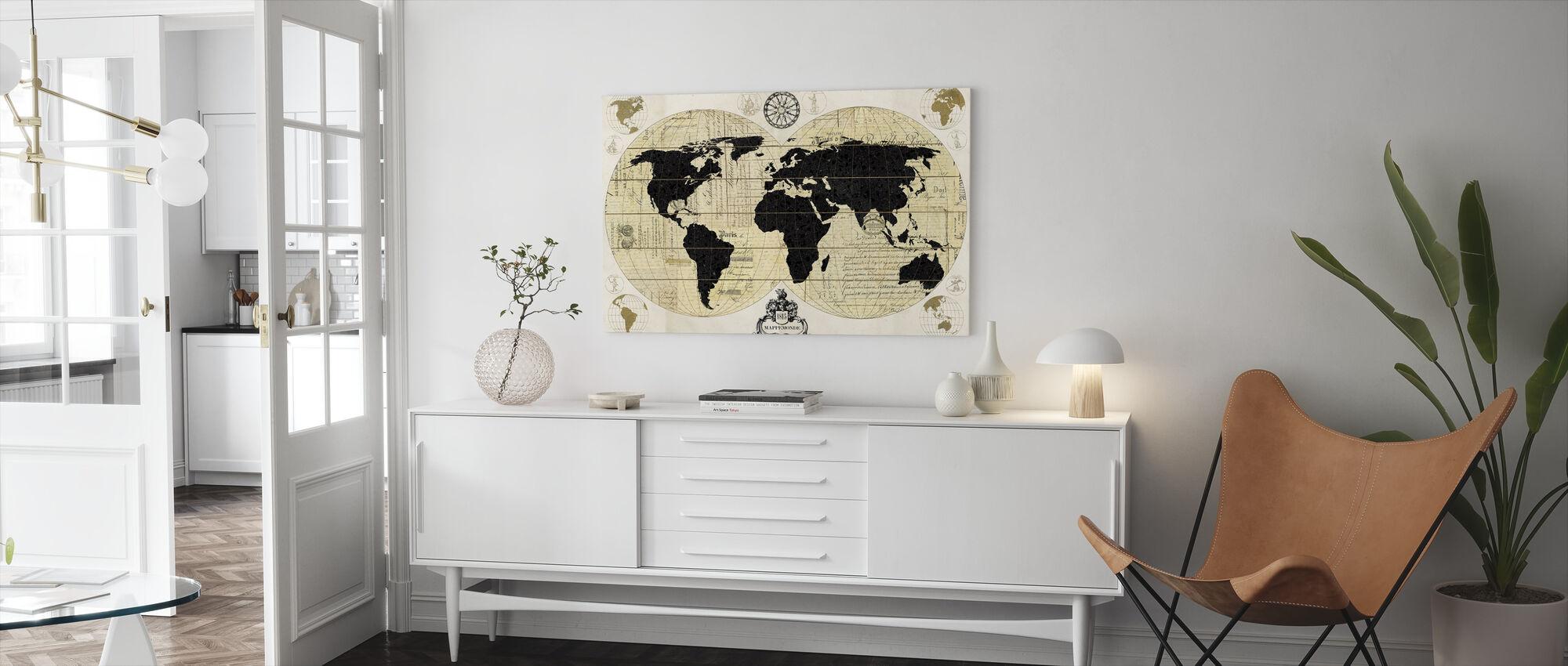 Vintage verdenskort - Billede på lærred - Stue