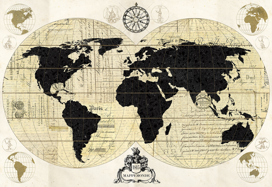 Vintage world map wall mural photo wallpaper photowall for Antique world map wallpaper mural