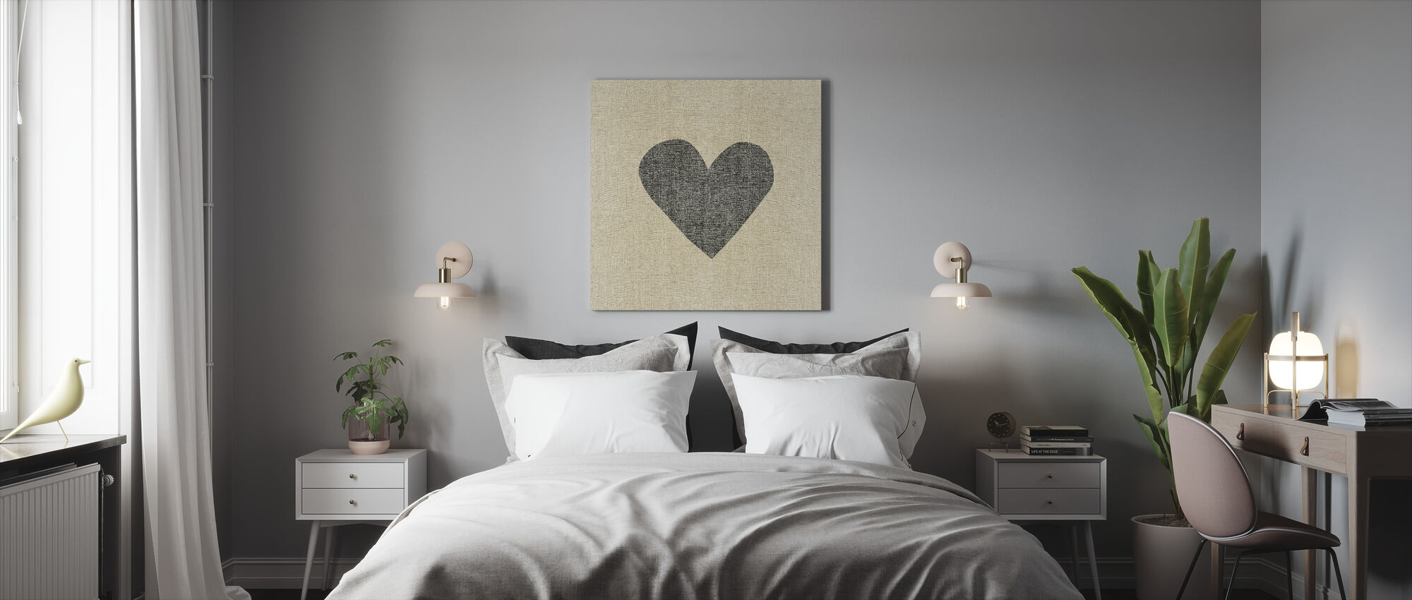 Simple Message Heart - Canvas print - Bedroom