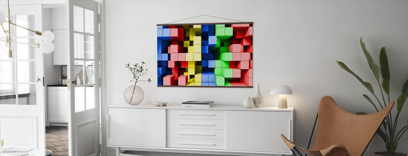 Djup Tetris färg - Poster - Vardagsrum