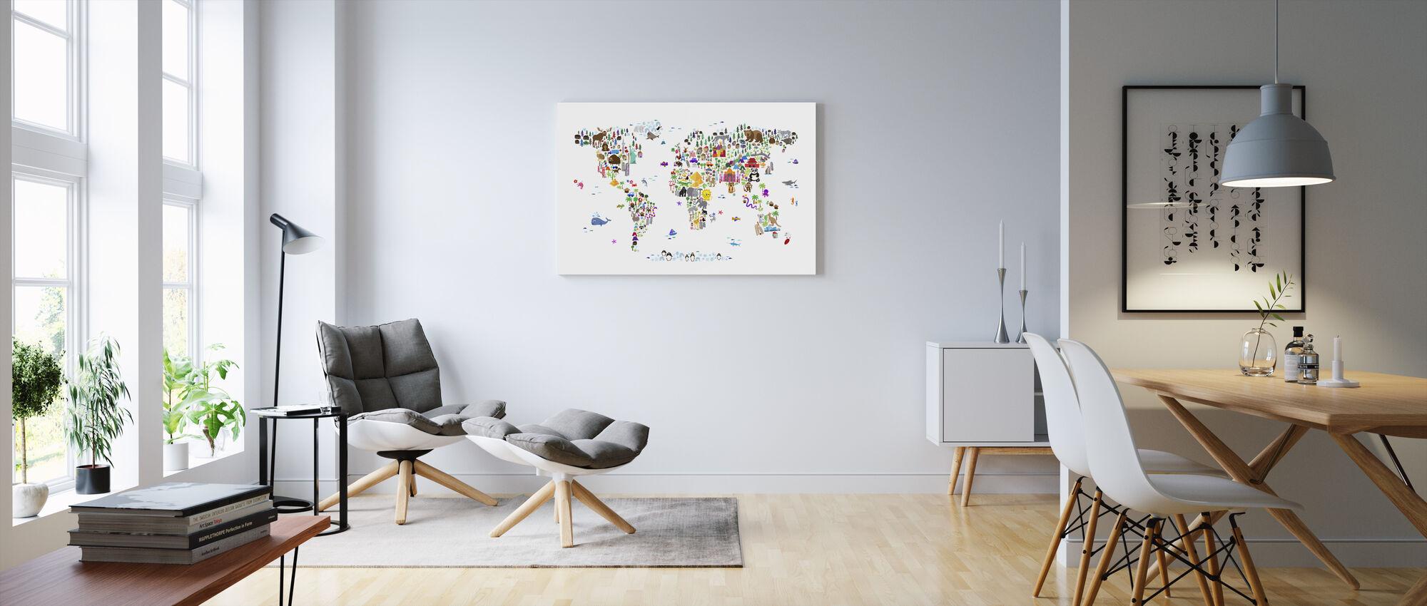 Djurkarta över världen - Canvastavla - Vardagsrum