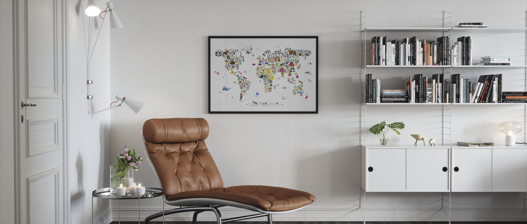 Animal Map of the World - Framed print - Living Room