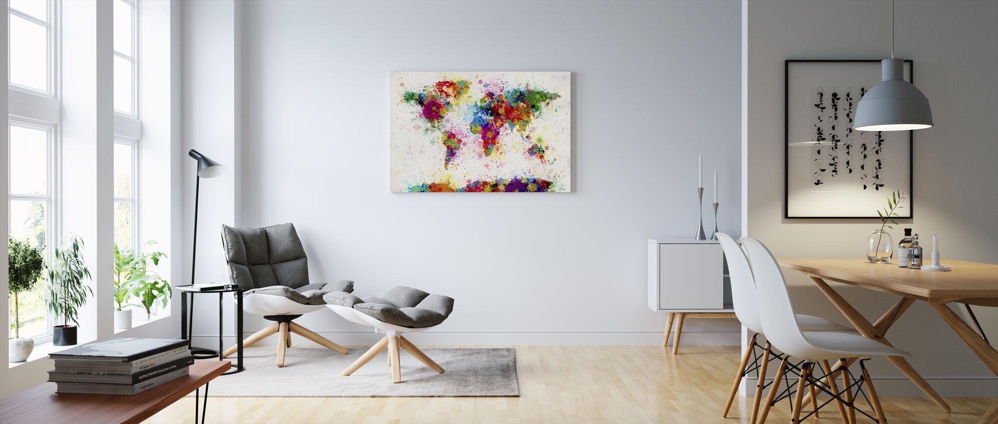 Paint stænk kort - Billede på lærred - Stue