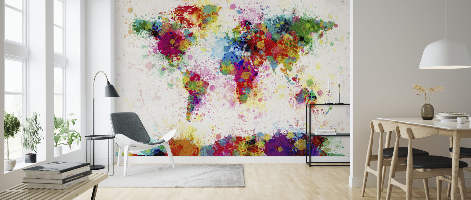 Paint Splashes Map - Wallpaper - Living Room