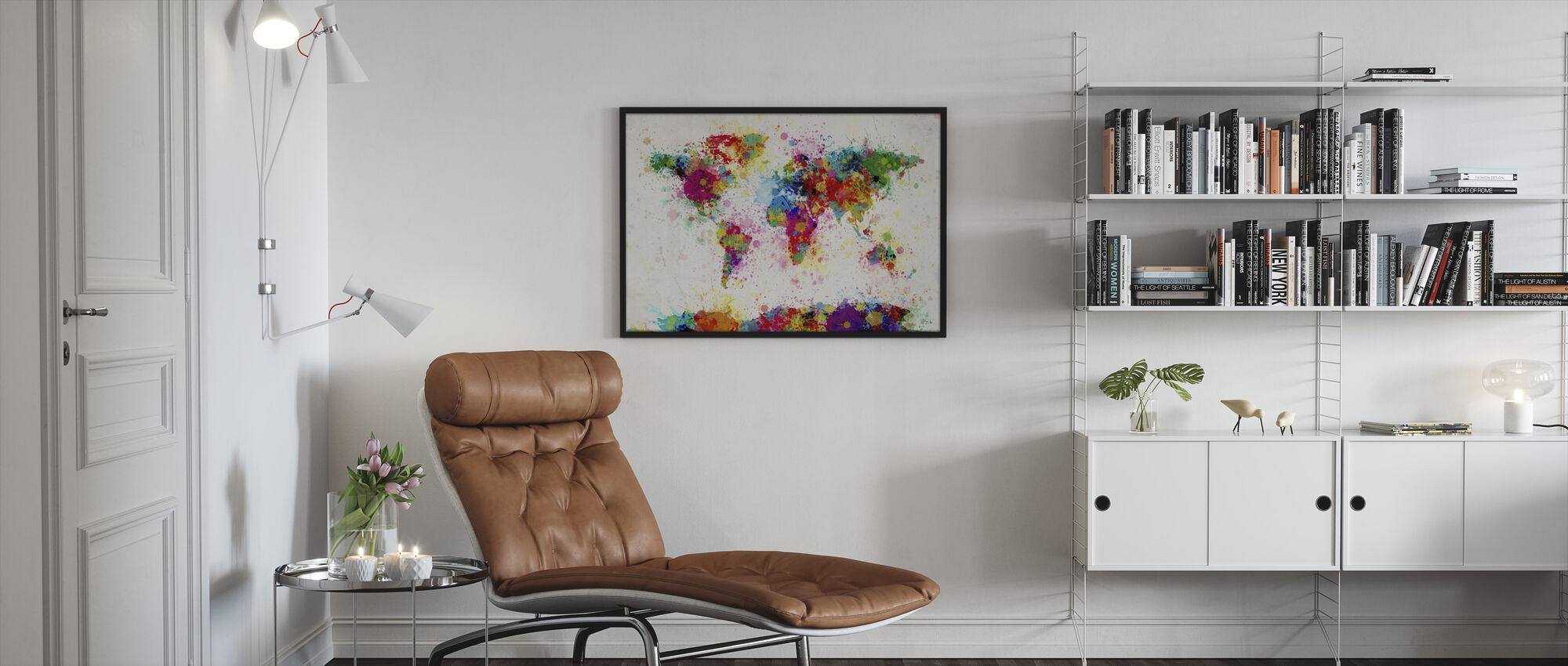 Paint Splashes Map - Framed print - Living Room