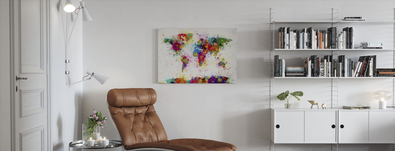Paint Splashes Map - Canvas print - Living Room