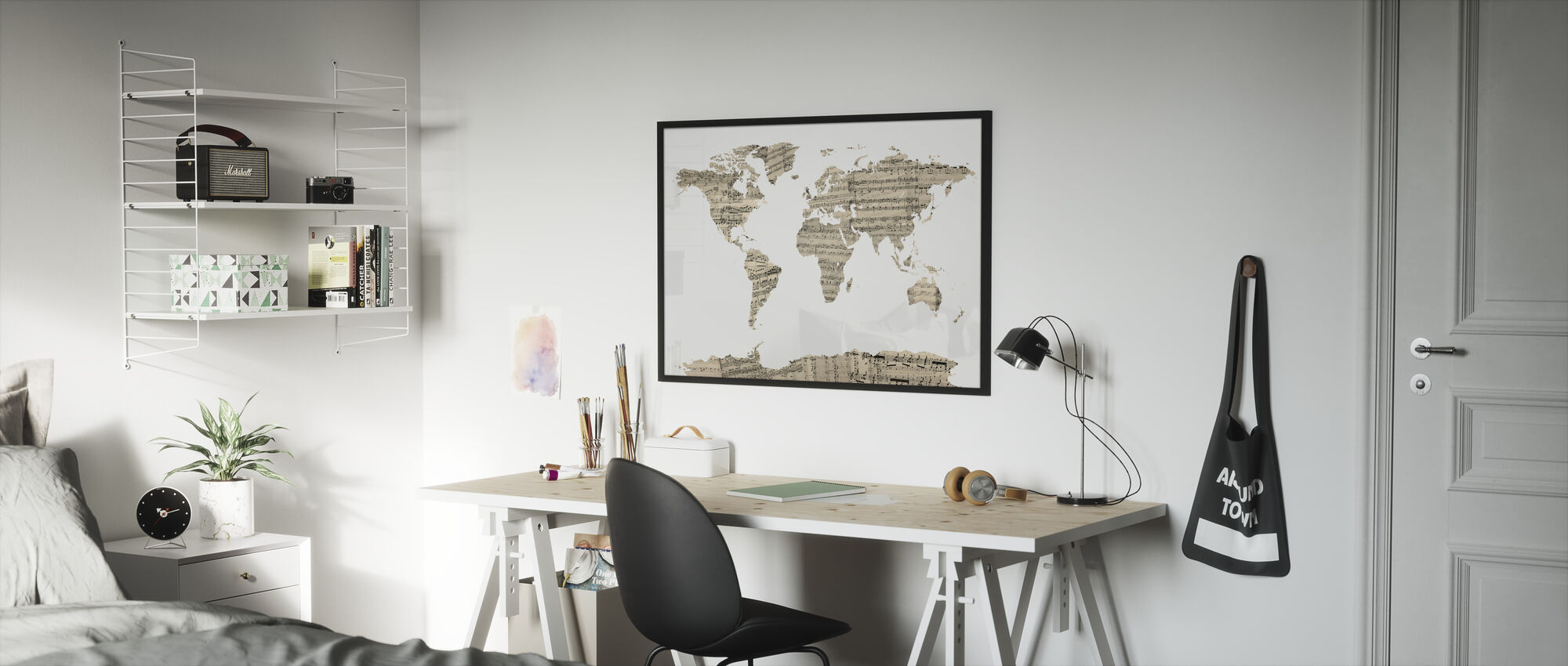 Old Music Sheet World Map - Framed print - Kids Room