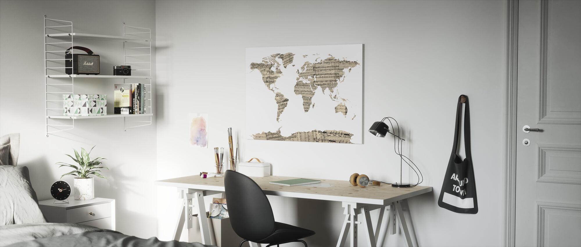 Gamla Music Sheet World Karta - Canvastavla - Barnrum