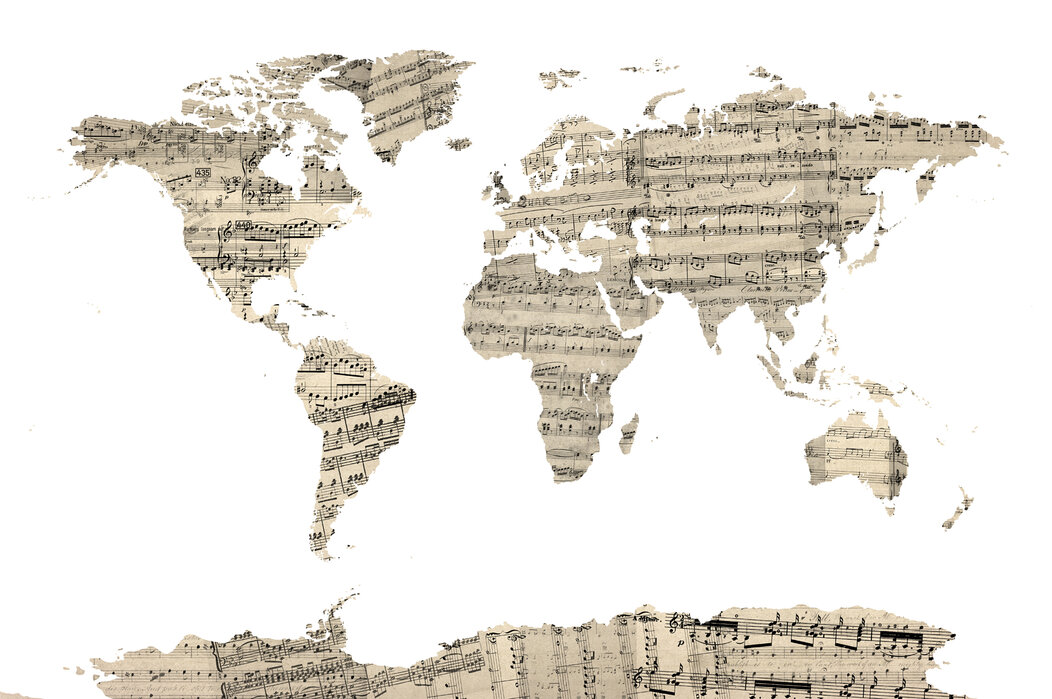 sheet music world map Old Music Sheet World Map Affordable Poster Photowall