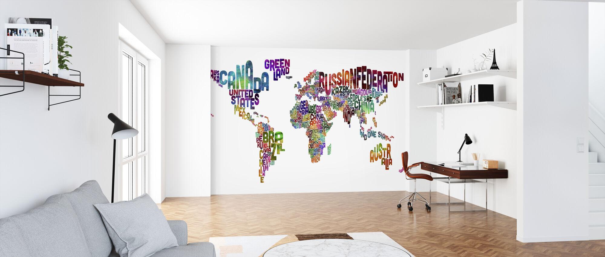 Typografinen teksti maailmankartta - Tapetti - Toimisto