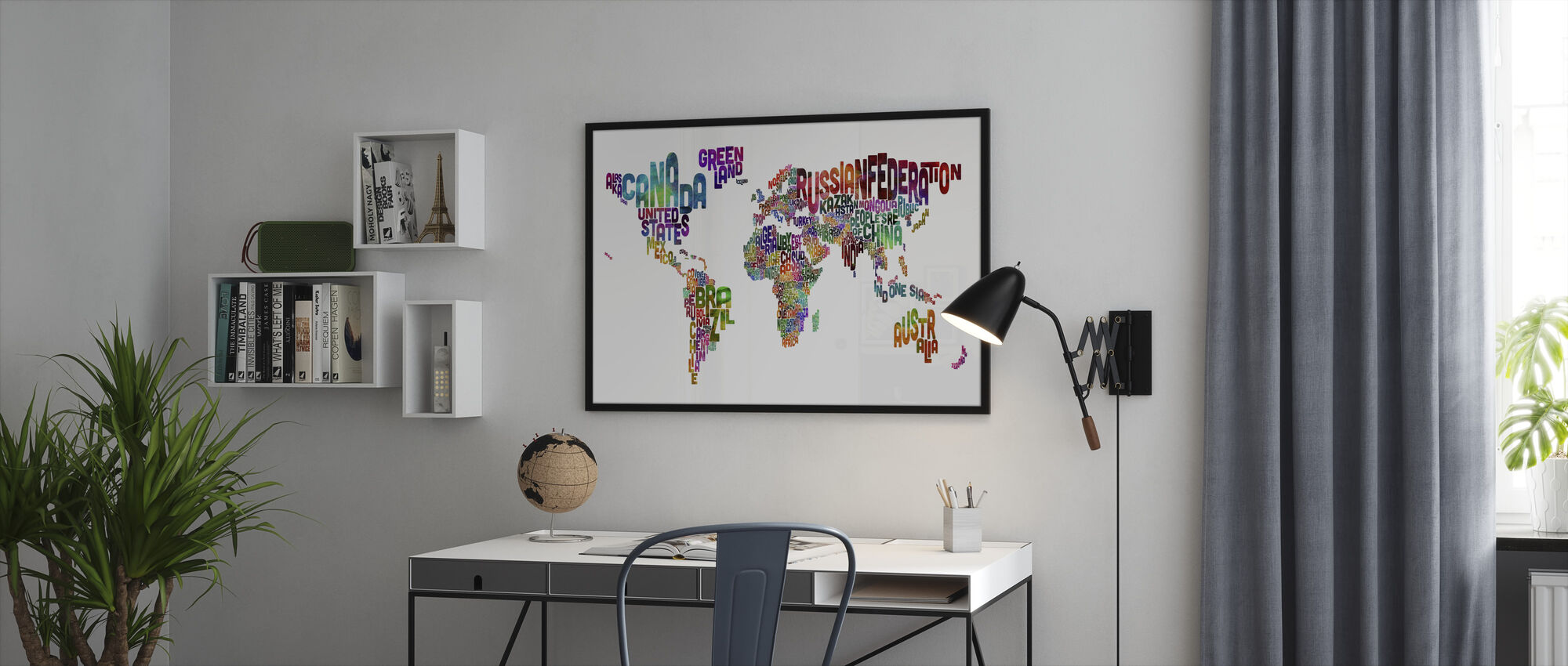 Typographic Text World Map - Framed print - Office