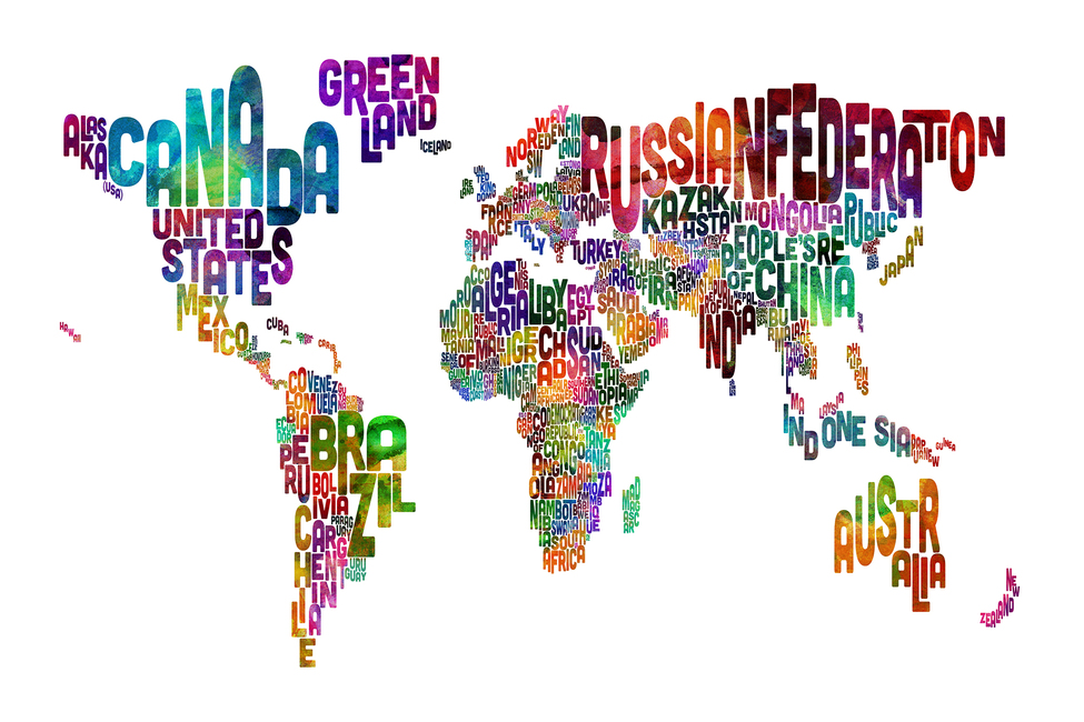 Typographic Text World Map Fototapeter & Tapeter 100 x 100 cm