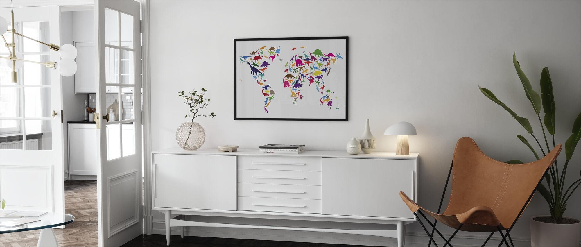 Dinosaur World Map - Framed print - Living Room