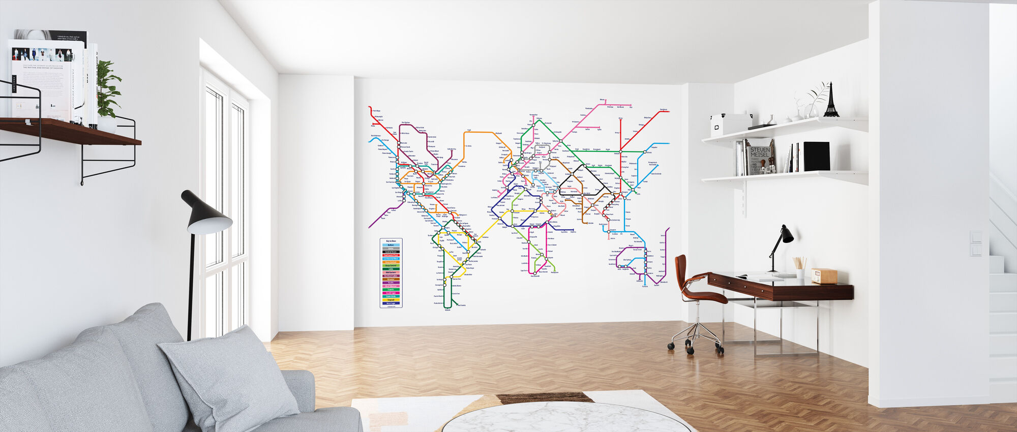 Metro World Map - Wallpaper - Office
