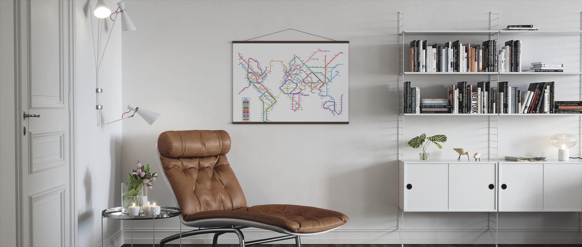 Metro Maailman Kartta - Juliste - Olohuone