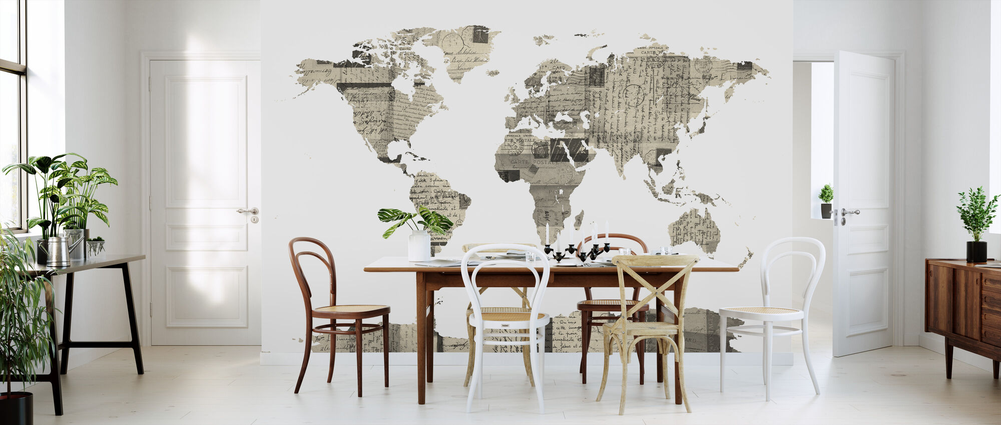 Old Postcards World Map - Wallpaper - Kitchen