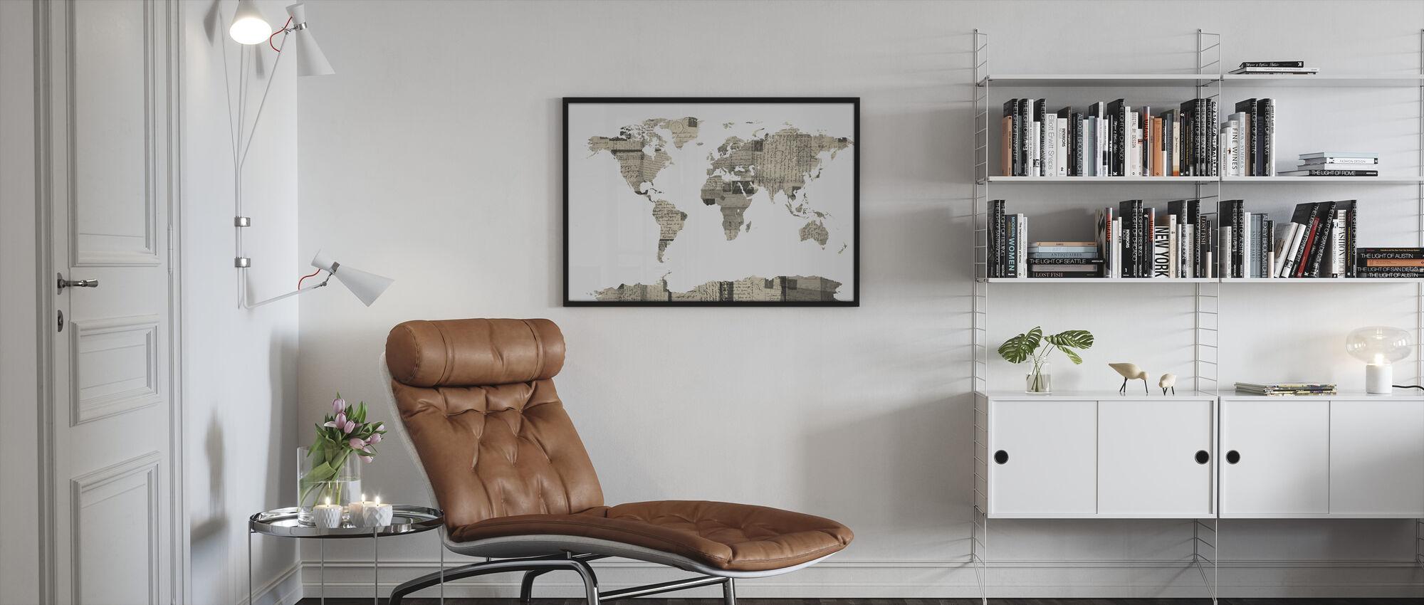 Old Postcards World Map - Framed print - Living Room