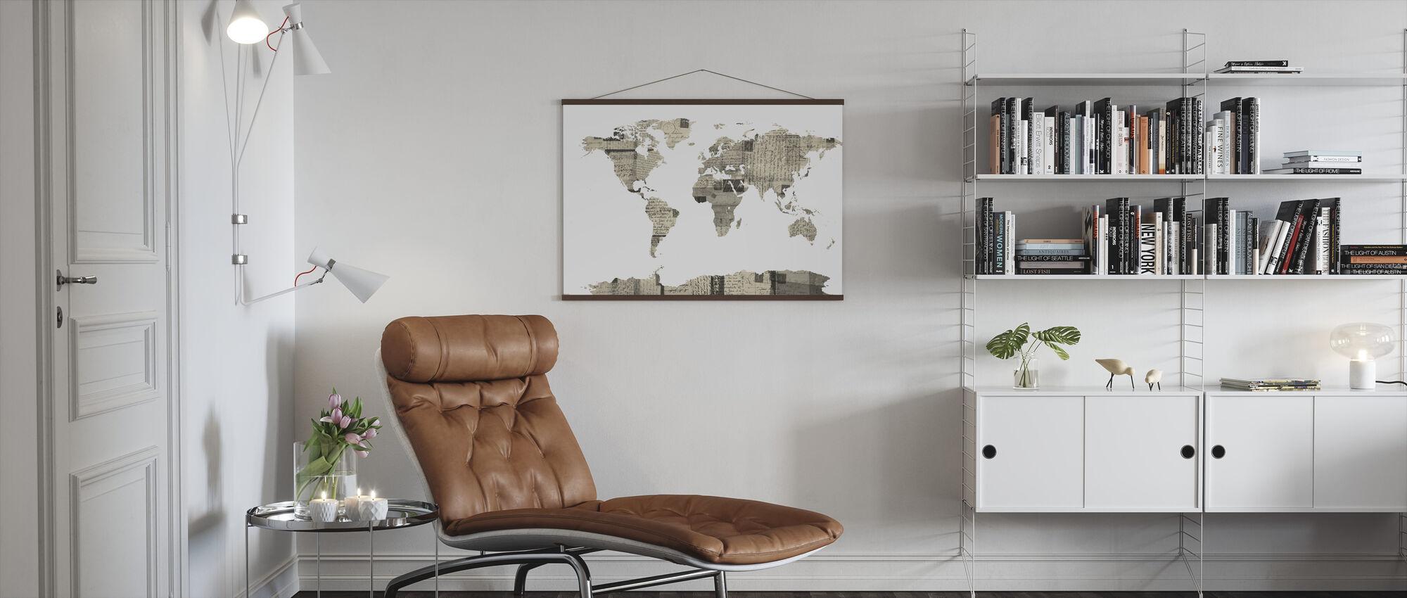 Old Postcards World Map - Poster - Living Room