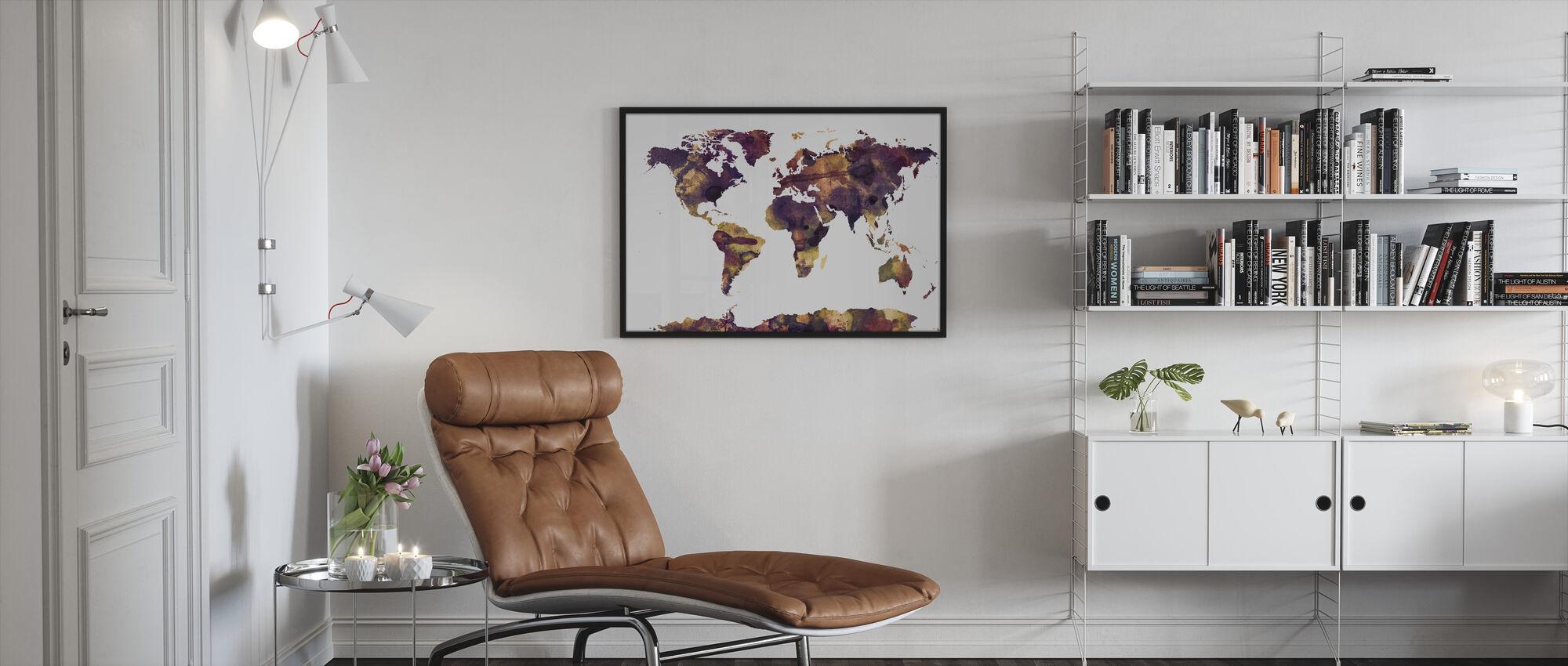 Vesiväri maailmankartta Purppura - Kehystetty kuva - Olohuone
