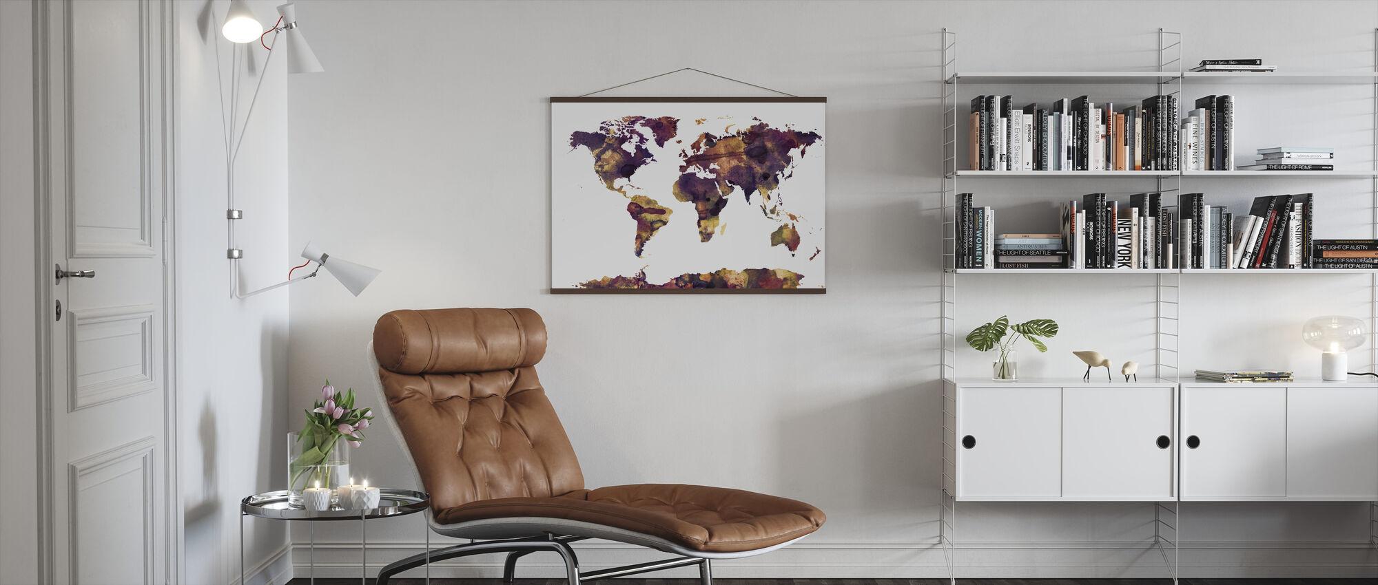 Aquarel Wereld Kaart Paarse - Poster - Woonkamer