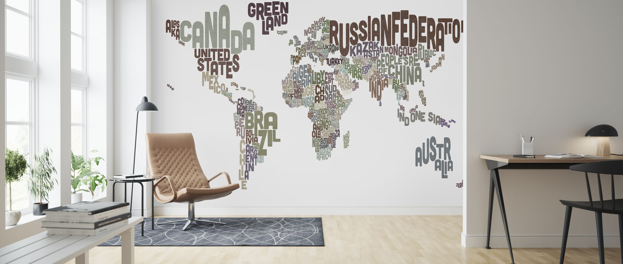 Typographic Text World Map Brown - Wallpaper - Living Room