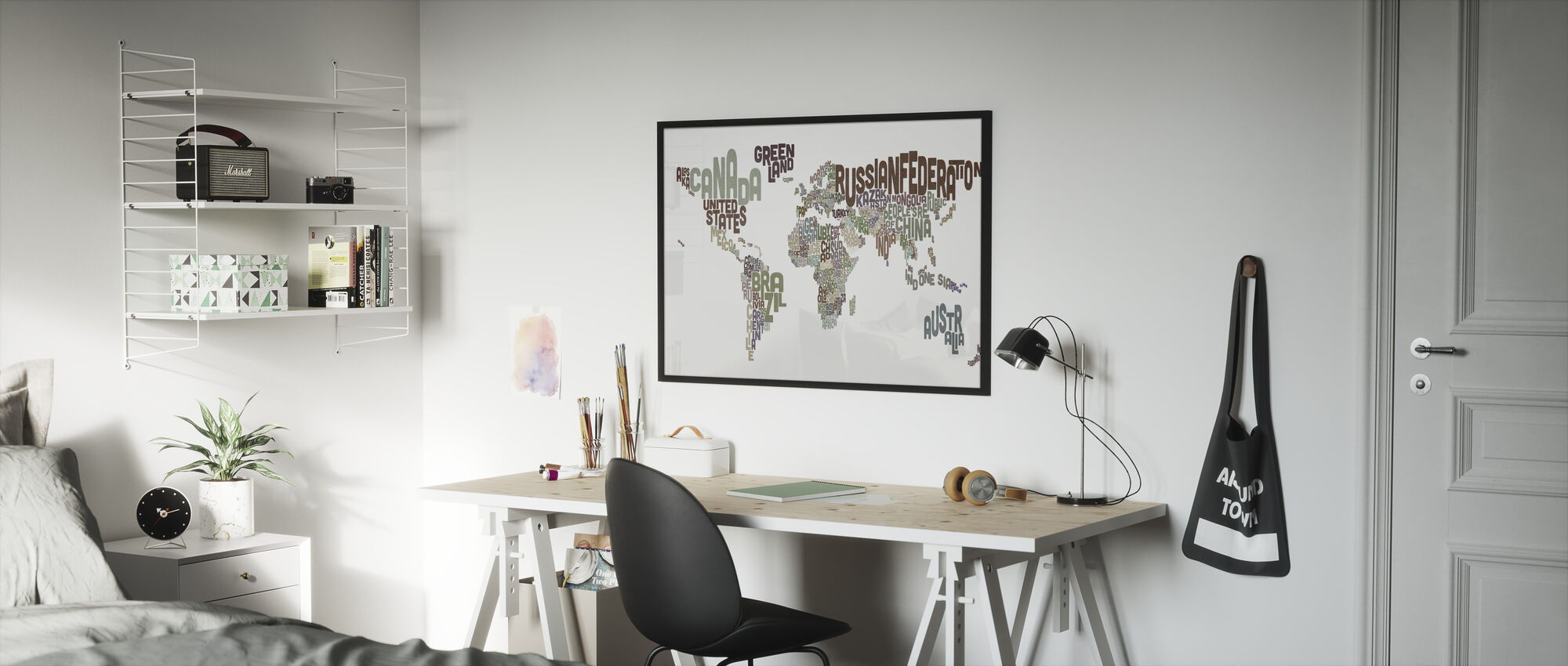 Typographic Text World Map Brown - Framed print - Kids Room