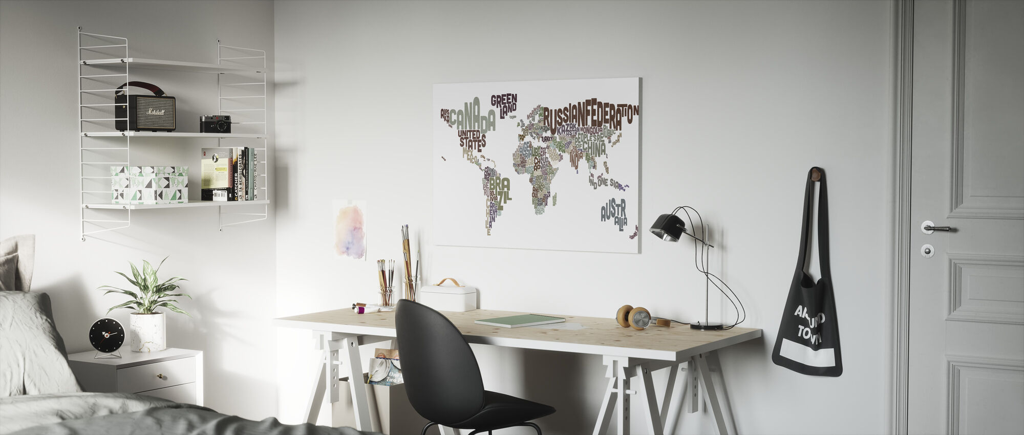 Typographic Text World Map Brown - Canvas print - Kids Room