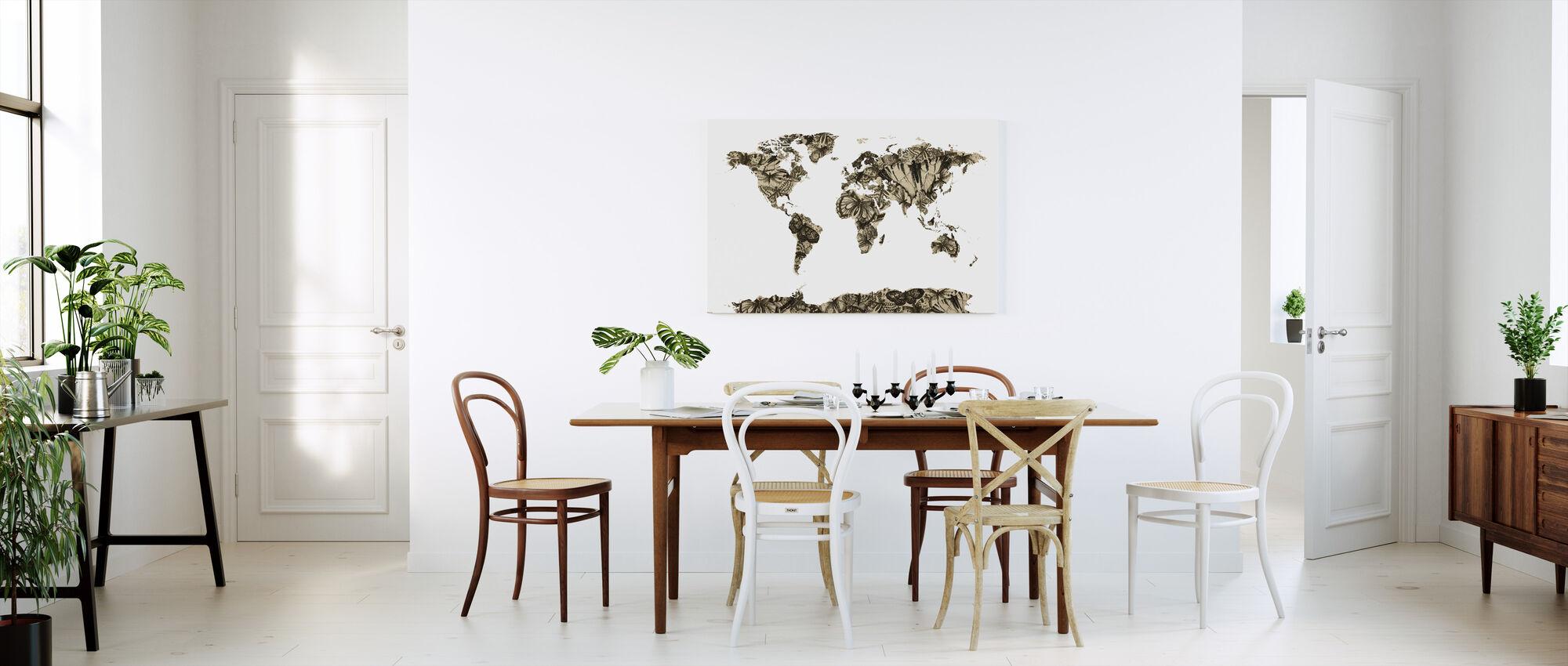 Butterfly Carte du monde - Impression sur toile - Cuisine