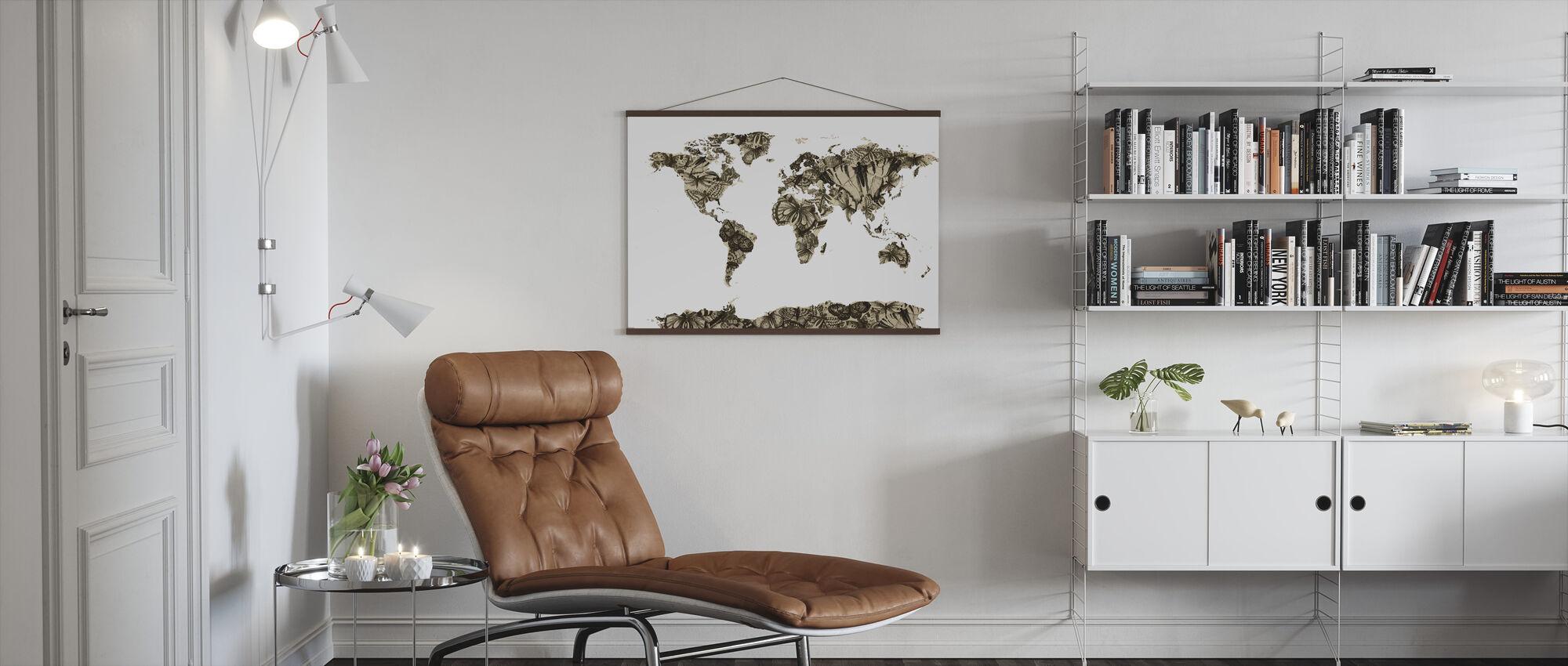 Butterfly Wereld Kaart - Poster - Woonkamer