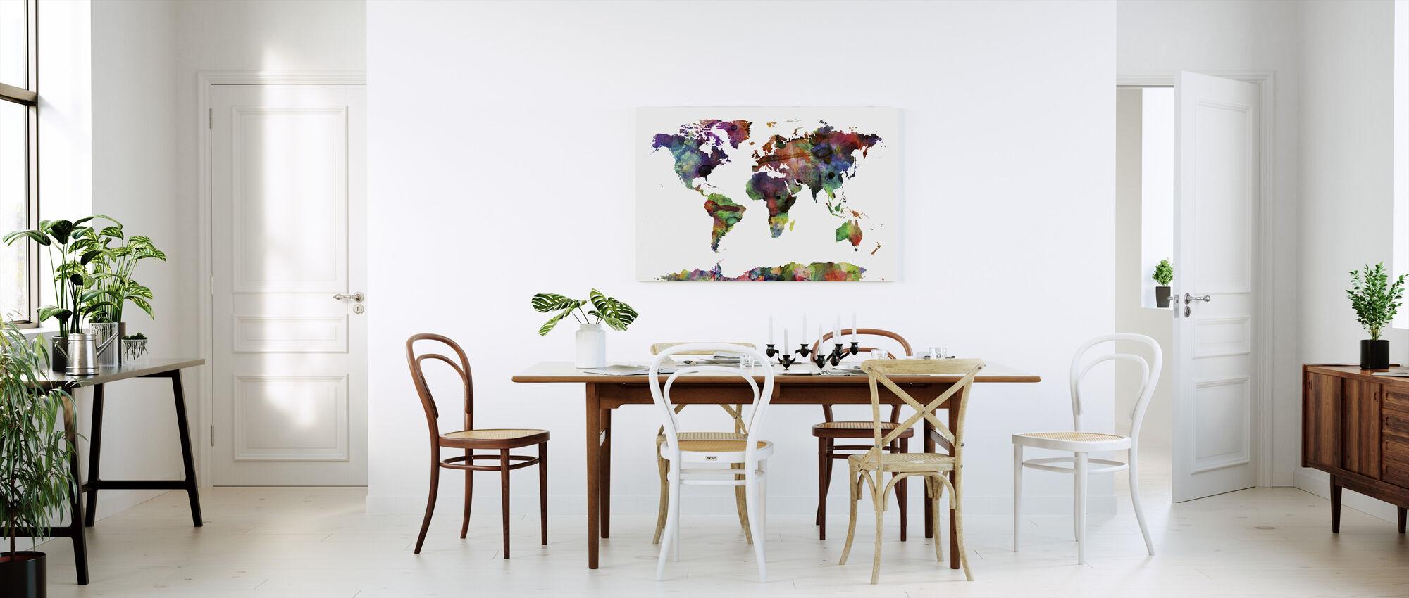 Watercolor World Map Multicolor - Canvas print - Kitchen