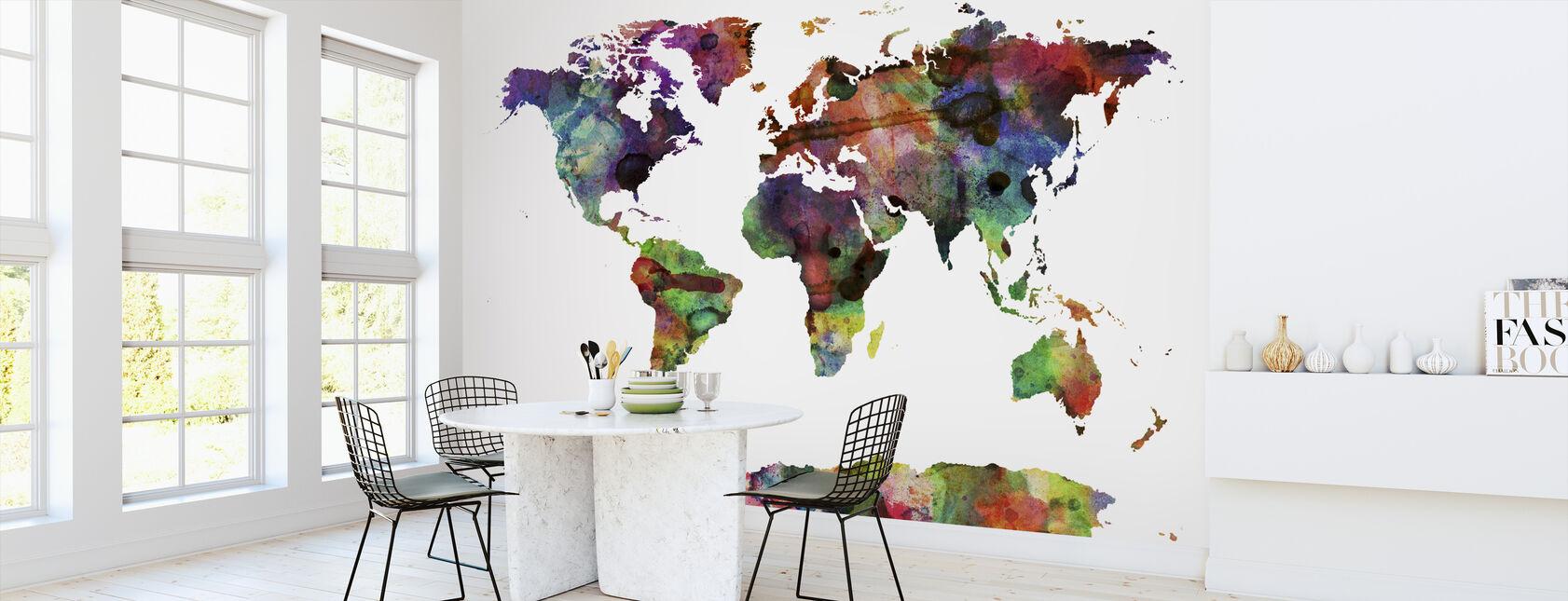 Watercolor World Map Multicolor - Wallpaper - Kitchen