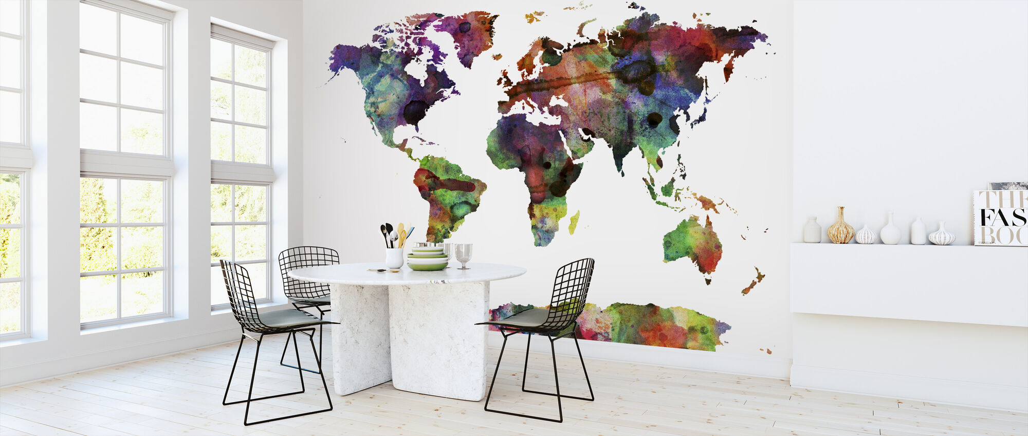 Watercolor World Map Multicolor - Wallpaper - Kitchen