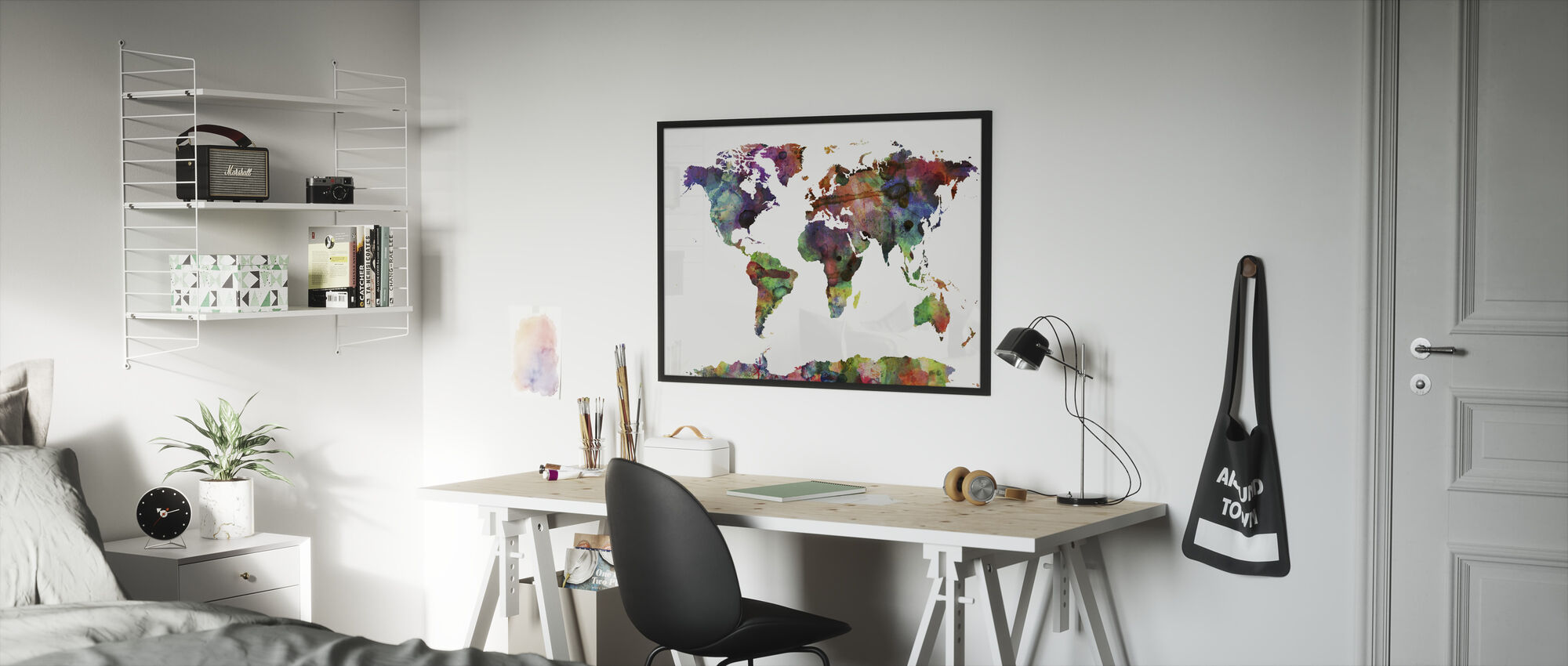 Watercolor World Map Multicolor - Framed print - Kids Room